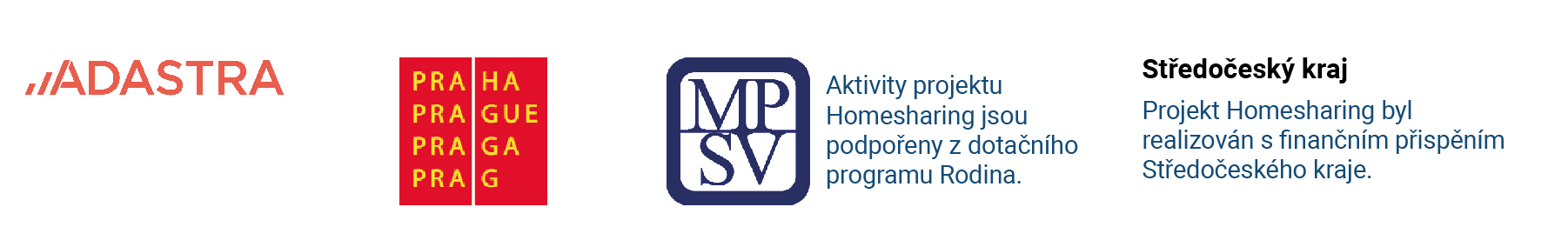 loga partneru Homesharingu: Adastra, mhmp, mpsv, Stredocesky kraj